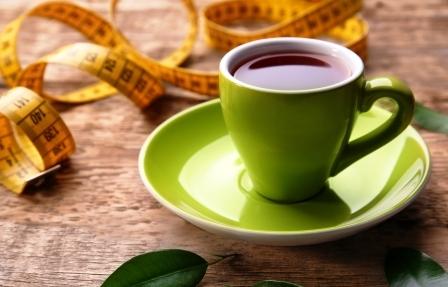čaj na chudnutie v šálke a meter