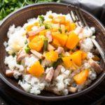 rizoto s tekvicou, zeleninou a slaninou